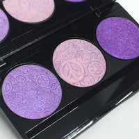 Purple Highlighter TRIO Pressed Highlighter Eyeshadow Palette Peace Sign