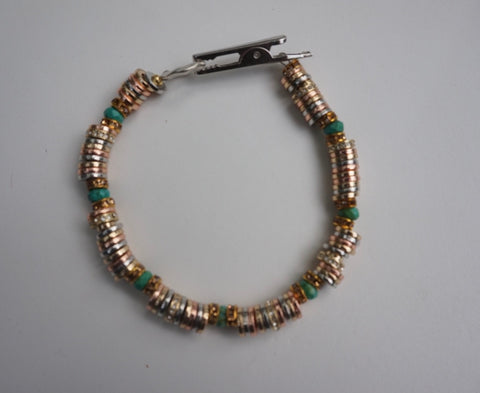 Mixed Metals and Turquoise RoachClip Bracelet
