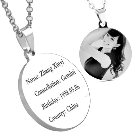 Customized Engraved Personalized Pendant Necklace
