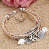 Multi Layers Leather Handmade Charm Bangle Mini Pendant Wrist Bracelet Black/Brown/Beige Colors