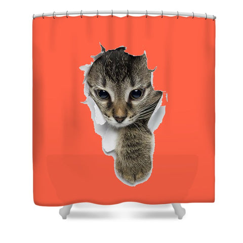Naughty Cat Right Paw Sticking Out 3D Print Shower Curtain