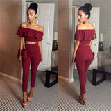 Women's 2 Piece Crop Top Jumpsuit - Slash Neck Short Sleeve Off The Shoulder