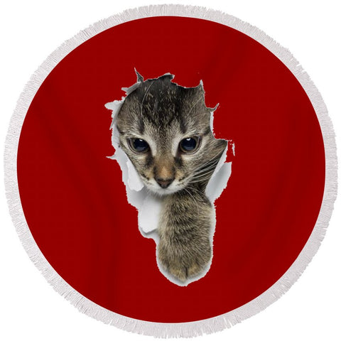Naughty Cat Right Paw Sticking Out 3D print Round Beach Towel