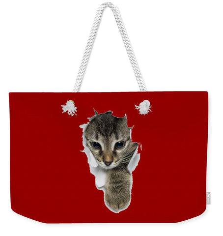 Naughty Cat Right Paw Sticking Out 3D Print Weekender Tote Bag