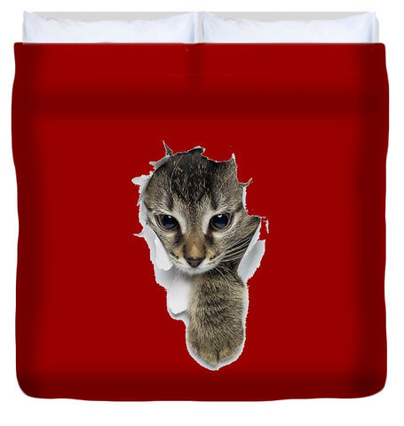 Naughty Cat Right Paw Sticking Out 3D Print Duvet Cover