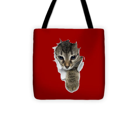 Naughty Cat Right Paw Sticking Out 3D Print Tote Bag