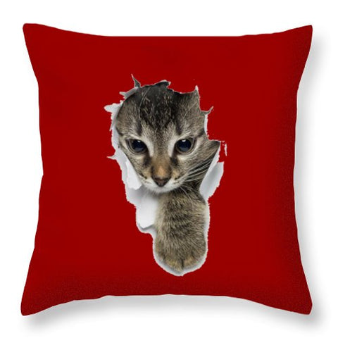 Naughty Cat Right Paw Sticking Out 3D Print Throw Pillow