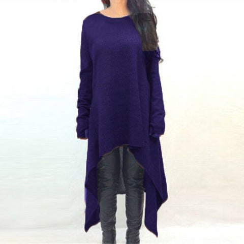 Women Casual Loose Dress Long Sleeve O Neck Knitted Sweater Mid-calf Dresses