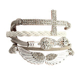 Elegant Friendship Crystal Cross Infinity Wings Leather Charm Bracelet Bangle For Women