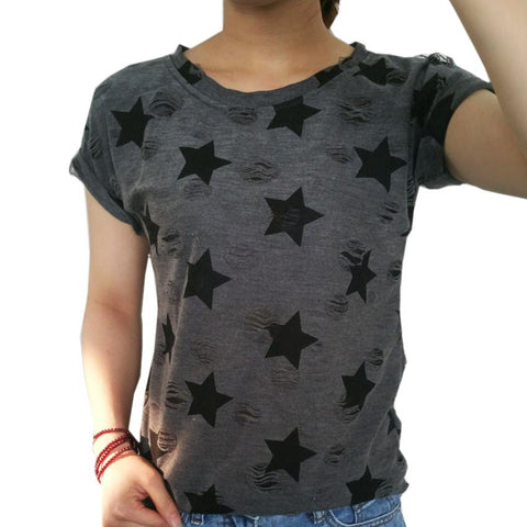 Women short sleeve star print vintage casual T-shirt