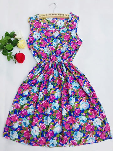 Women Casual Floral Sleeveless Vest Slim Chiffon O-neck Dress