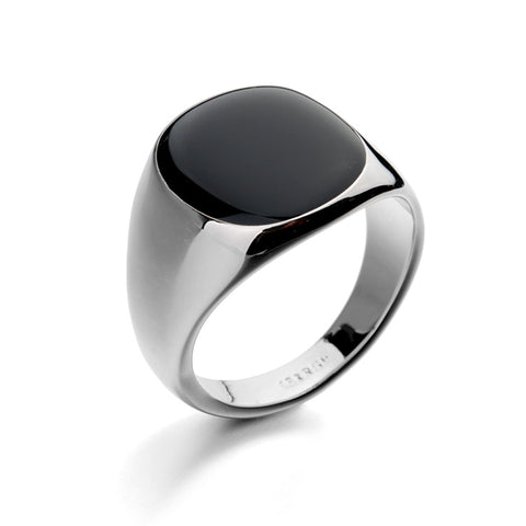 Hot Sale Fashion Black Wedding Ring Luxury Black Onyx Stones Crystal Ring