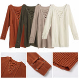 Women's V Neck Knitted Lace up Sweater