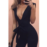Beautiful & Sexy Black Deep V Fitted Bodycon Jumpsuit