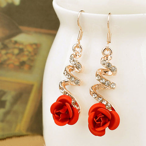 Crystal Dangle Earrings Rose Flower Simulated Pearl Metal Long Drop Earrings