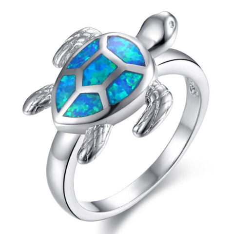 Unique Turtle Blue Fire Opal Cute Rings For Women