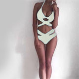 Sexy black bandage design Halter High Waist bikini swimsuit
