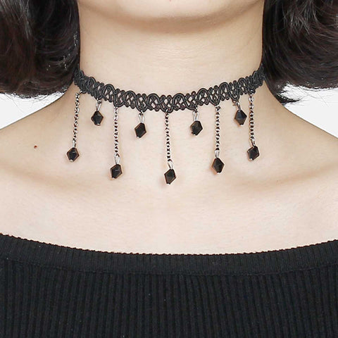 Black Hollow Lace Choker Necklace