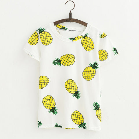 Women's Hot Style Pineapple Print Cotton T-shirt