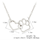 Hollow Pet Paw Footprint Heart Pendant Necklace (60% OFF)