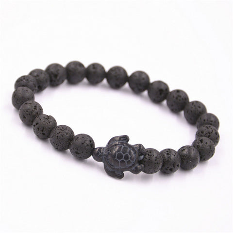 Trendy Sea Turtle Braiding Bracelet - Iron Gallstone Lava Stone Beads