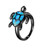 Unique Turtle Blue Fire Opal Animal Rings For Women