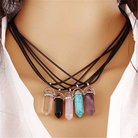 Fashion Natural Stone Opal Necklaces & Pendants Silver Plated Leather Chain Statement Necklace