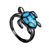 FREE Unique Turtle Blue Fire Opal Ring For Women