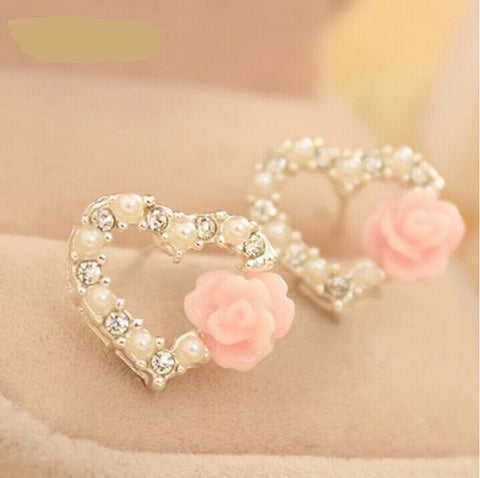 Beautiful Shiny Pearl Heart Earring Rose Flower Stud Earrings for Women