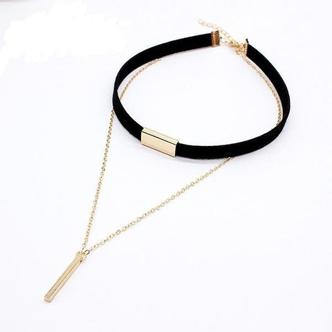 Black Velvet Choker Necklace - Strip Rope Chain - Bar Square Tube Strip Choker