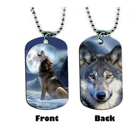 Wolf Dog Tag Pendant Necklace (60% OFF)
