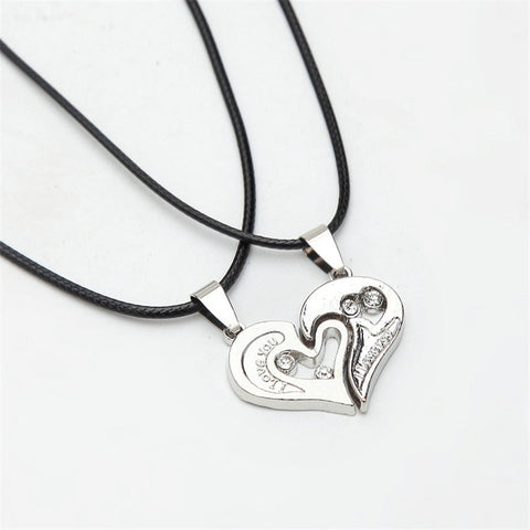 FREE Couples Heart Pendant Necklace - Black Cord - Stainless Steel - For Women and Men
