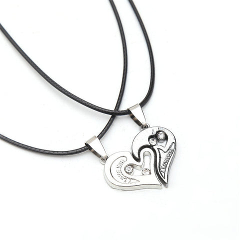 Couples heart pendant necklace black cord stainless steel couples heart pendant necklace black cord stainless steel for women and men aloadofball Image collections