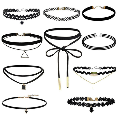 4-10 Piece Black Velvet Choker Necklace Sets