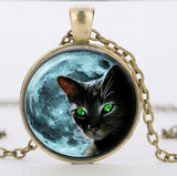 FREE Blue Moon Black Cat Glass Necklace