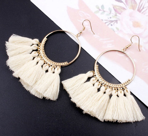 Bohemian Handmade Vintage Round Long Drop Earrings
