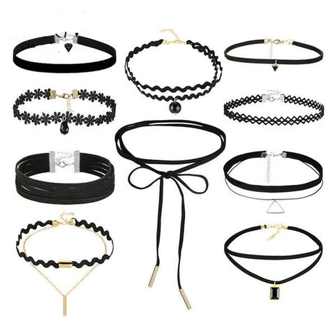 10 Piece New Leather Choker Necklace Set
