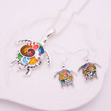 Beautiful Enamel Sea Turtle Pendant/Necklace & Earring Set