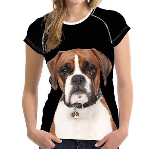 Boxer Dog 3D Print Women T-Shirt