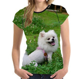 Pomeranian Dog 3D Print Women T-Shirt