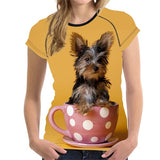 Teacup Yorkie 3D Print Women T-Shirt
