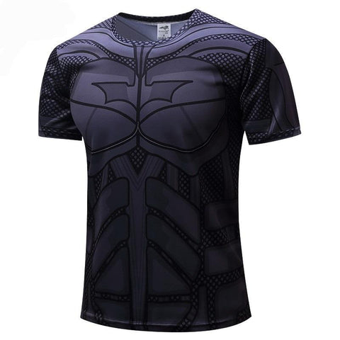 Men's Superhero Breathable Quick Dry Compression Fitness Short Sleeve T-Shirts