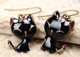 FREE Cute Black Kitten Pendant Necklace and Drop Earrings For Women