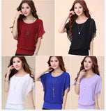 Ruffle Batwing Short Sleeve Casual Shirt