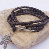 Leather Charm Gift Bangles Multilayer Feather Bracelet