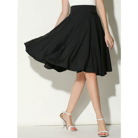 Summer Women High Waist Pleated A Line Skirt