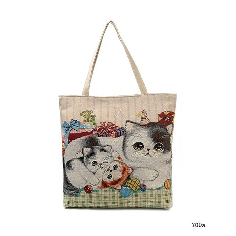 Cute Cats Print Canvas Shoulder Tote