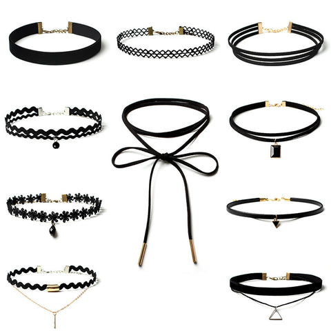 10 Piece Women Black Rope Choker Necklace Set