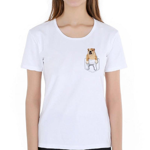English Bulldog In Pocket Printed Women's T-Shirt