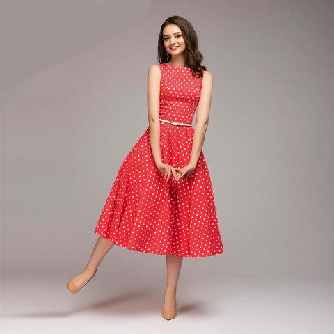 Women Elegant Thin Dot Printing Mid-Calf Casual Dress